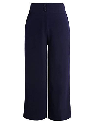 Chicwe Women's Plus Size Cropped Curvy Fit Wide Leg Pants with Wide Waistband - Casual and Work Pants Trousers Navy 26