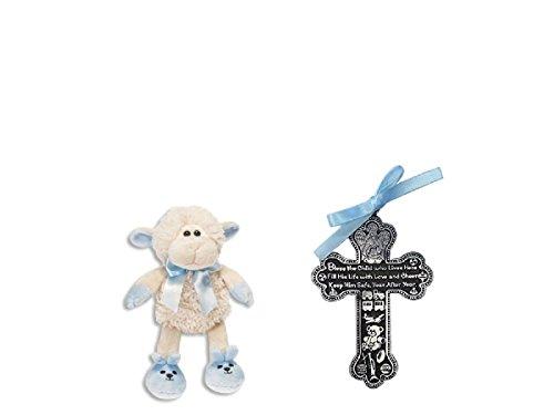 God Bless Baby Cross (Precious BABY BOY Keepsake Gift Set - CRIB CROSS Medal & Plush LAMB Blue BAPTISM)