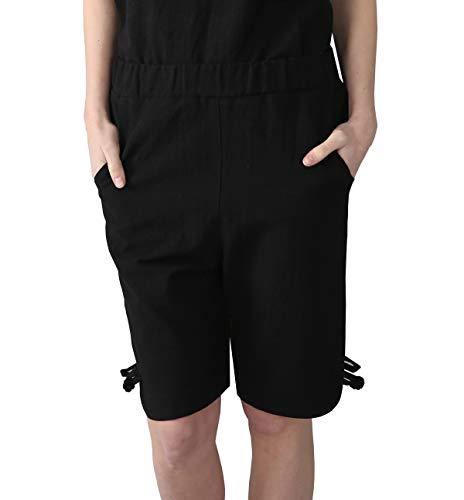 HOW'ON Women's Elastic Waist Knee-Length Casual Comfy Cotton Linen Shorts Bermuda Shorts with Internal Drawstring Black L ()