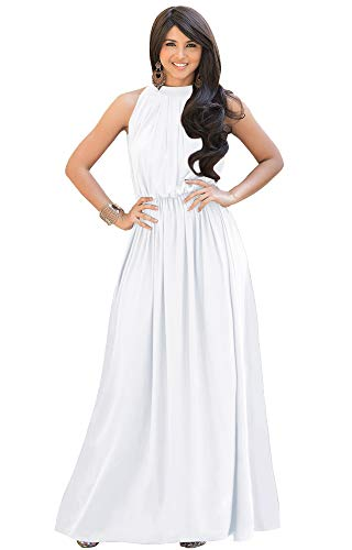 KOH KOH Plus Size Womens Long Sexy Sleeveless Bridesmaid Halter Neck Wedding Party Guest Summer Flowy Casual Brides Formal Evening A-line Gown Gowns Maxi Dress Dresses, Ivory White 2XL 18-20