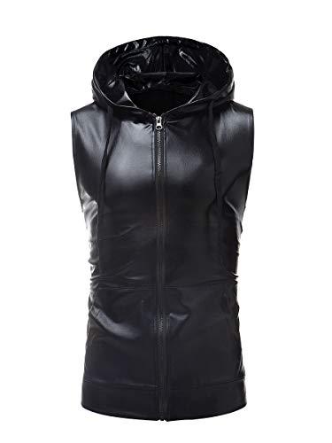 Cremallera Negro Color Cordón Para De Con Y Hombre Piel Chaleco PZdSqwnZr