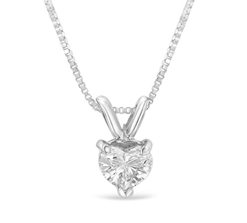 (Original Classics 14k White Gold Heart Diamond Pendant Necklace (1/3 cttw, H-I Color, VS1-VS2 Clarity))