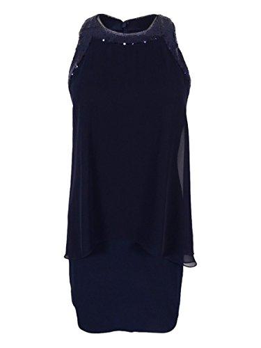 Betsy & Mousseline Superposition Des Femmes Adam La Marine Robe De Changement Sequin-trim