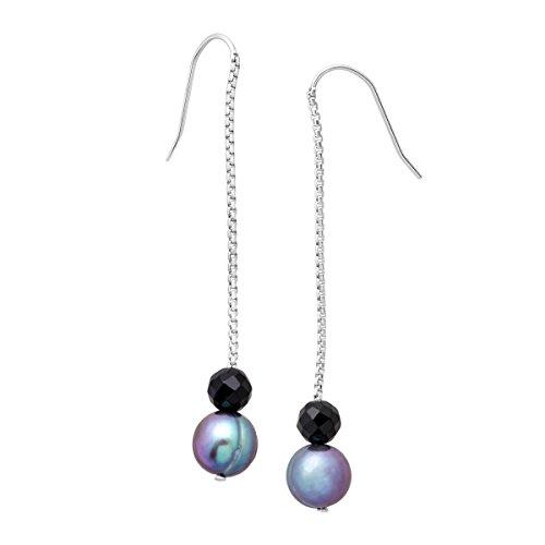 Honora Freshwater Ringed Blue Cultured Pearl & Onyx Bead Drop Earrings in Sterling Silver