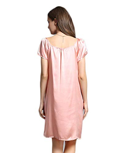 Suelta Ropa Moda Verano Pijama Y Vintage Seda Señoras Morera Cómodo Pijamas De Camisón Manga Rosa Suave Corta Dormir qwgCRP