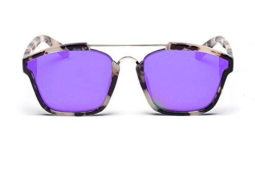 SojoS Square Fashion Women Mirrored Lens Abstract Sunglasses SJ2003 With Beige Frame/Purple - Kardashian Small Sunglasses Kourtney
