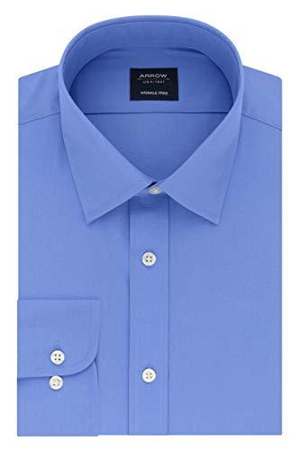 Blue Poplin Pocket Dress Shirt - Arrow 1851 Men's Regular Fit Dress Shirt Poplin, Corn Flower, 15