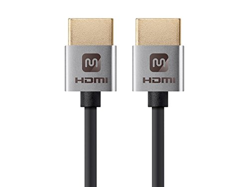 Monoprice High Speed HDMI Cable - 4 Feet - Silver, 4K@24Hz, 10.2Gbps, 36AWG, YUV, 4:2:0 - Ultra Slim Series