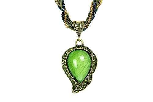 (Desklets Vintage Bohemia Style Phoenix Peacock Crystal Diamond Opal Pendant Necklace(Green))