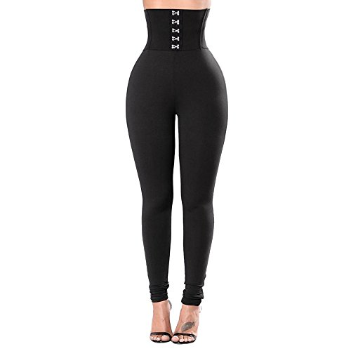 Cithy Women's Women's Sports Gym Yoga Running Fitness Leggings Pants Yoga Clothes (L, Black)