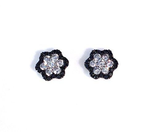 Cts Diamond Antique Style Ring - .80 CTS Black & White Diamond Flower Stud Earrings 14k White Gold Micro Pave'