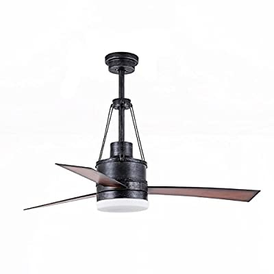 FXY Industrial Ceiling Fan with Light Kit 48 inch Integrated LED Light Fixture with Remote Control for Home Office, Matt Black