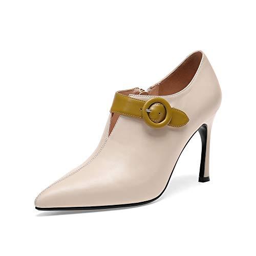 pour Stiletto Talons Rice Courtes Pointus Femme Bottines à White aPpT7