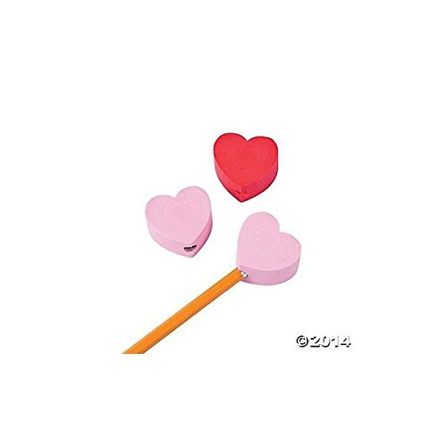 12 Chunky Red and Pink Heart Eraser Pencil Topper/Valentine's Day Stationary/Student Incentives/Valentine's Day Party Favors and Supplies (Valentine Day Erasers)