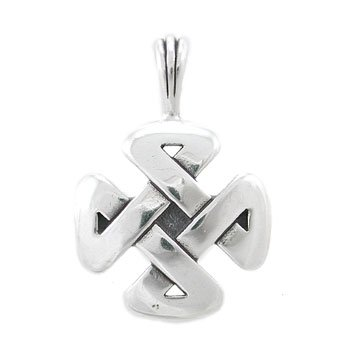 Cross Shaped Celtic Knot Pendant in Sterling Silver with 'Strength'