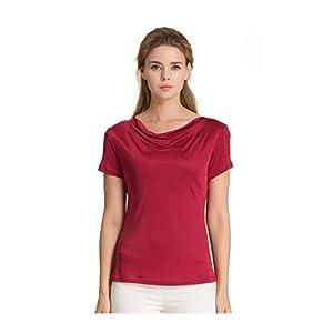 Antamaca Women's T Shirt Short Sleeve Comfy Fit Swing Neck Silk Tops