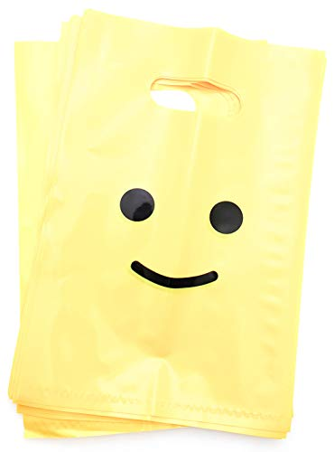 Life time Inc Smile! Yellow Favor Bags Super Strong 24 Pack Loot Birthday Emoji Treat Plastic Bag , 9 x 6 inch