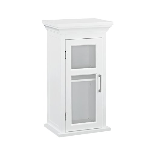 Shaker Bathroom Style Cabinets - Simpli Home AXCBC-005-WH Avington 26.9 inch H x 15 inch W Wall Bath Cabinet with Cubbies in White