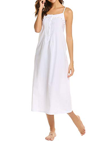 Ekouaer Womens Nightgown 100% Cotton Victorian Long Sleeveless Sleepwear,C_white,XX-Large (Nightgown Pintucked)