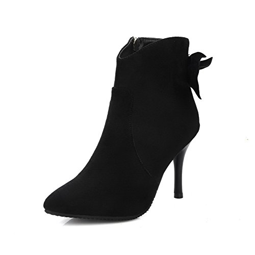 AgooLar Women's Solid High-Heels Pointed Closed Toe PU Zipper Boots Black-frosted