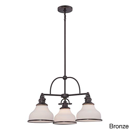 "Quoizel GRT5103PN Grant Downlight Chandelier, 3-Light, 300 Watts, Palladian Bronze (16"" H x 24"" W)"