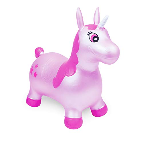 WADDLE Favorite Pink Unicorn Toy Space Hopper Ride On Large Inflatable Animal Kids Riding Bouncy Horse for Girls Twilight Sparkle Magical Pony Interactive for Toddlers and Children Gift Idea by WADDLE (Image #7)