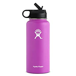 Hydro Flask 32 oz Double Wall Vacuum Insulated Stainless Steel Sports Water Bottle, Wide Mouth with BPA Free Straw Lid, Raspberry