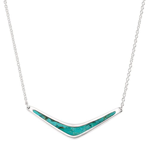 Silpada 'Reversible Boomerang' Sterling Silver and Turquoise Necklace, 16+2
