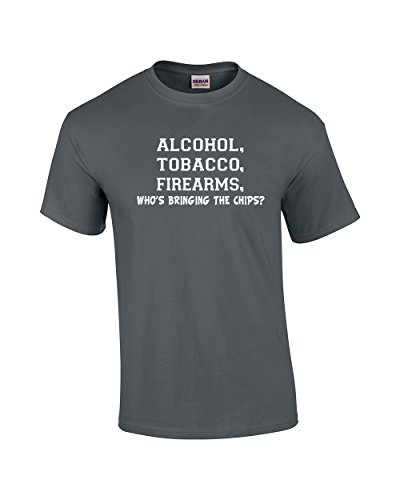 ATF T-Shirt Alcohol Tobacco Firearms Who's Bringing The Chips?-Charcoal-XXXL