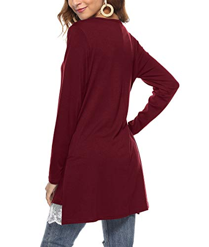 Blouse Long Wine LemonGirl Button Femme Chemisier Down Sleeve Pullover Shirts Top 7wnxgqvn5C