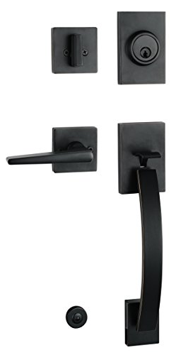 Oil Rubbed Bronze HandleSet with Deadbolt, Knob Door Handle and Lever Door Handle (for Entrance and Front Door) Reversible for Right and Left Handed Oil Rubbed Bronze Finish, MDHST201710B-AMZ-1 ()