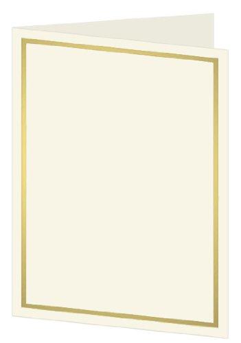 Gold Foil Invitation, Program, Single Fold 5x7, Ecru Cardstock, 65lb, 50 Pack by LCI Paper
