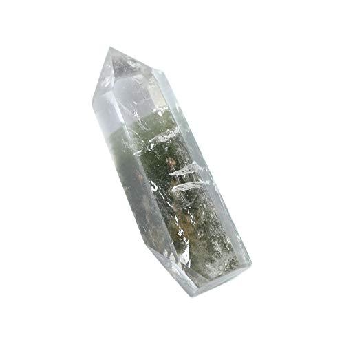 (FHNP367 Natural Green Phantom Crystal Point Wands - Healing Crystal 6 Faceted Prism Reiki Chakra Meditation Obelisk Tower Gift - One 2