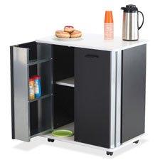 Safco Refreshment Cart, 2 Door, 29-1/2''x22-3/4''x33-1/4'', Black/WE