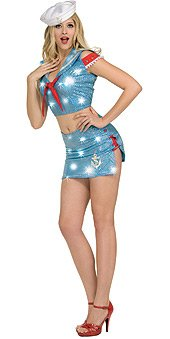 Secret Wishes Women's Ship Shape Sassy Adult Costume with Holographic Sequins, Multicolor, Medium (Sequin Sailor Costume Hat)