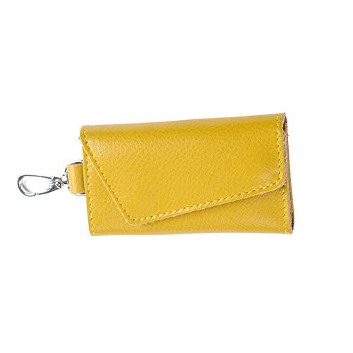 Car Genuine Cassa Chiave Leather Key Giallo Uomini Funzione Multi Donne Raccoglitori Titolari Bag w5nZqYOXxP