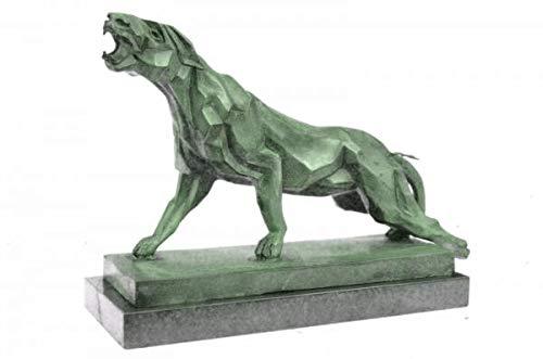 EUROPEAN BRONZE Miguel Lopez - Escultura de Bronce de león, diseño Abstracto de Jaguar Panther Cougar