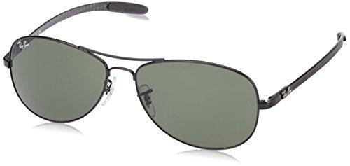 Italian Aviator Sunglasses - Ray-Ban Men's RB8301 Aviator Sunglasses, Black/Green,