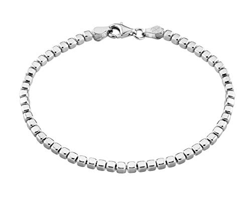 (MiaBella 925 Sterling Silver Organic Cube Bead Chain Bracelet Women Men Choice of White or 18K Yellow Gold Over Silver, 7