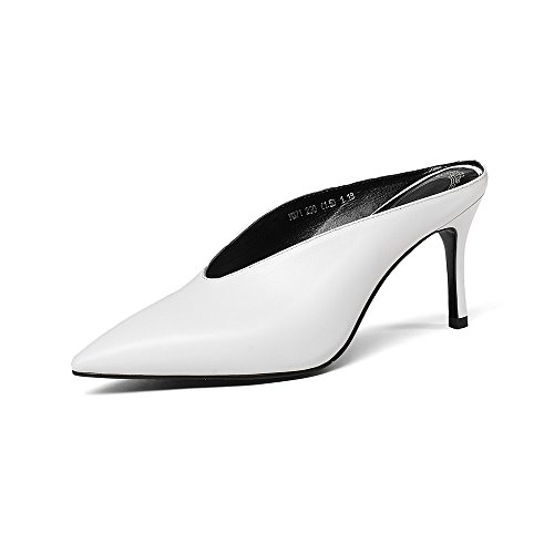 eather Women's Pointed Toe High Stiellto Heel Handmade Slide Mule Pumps (7, White) (Heel Leather Mule)