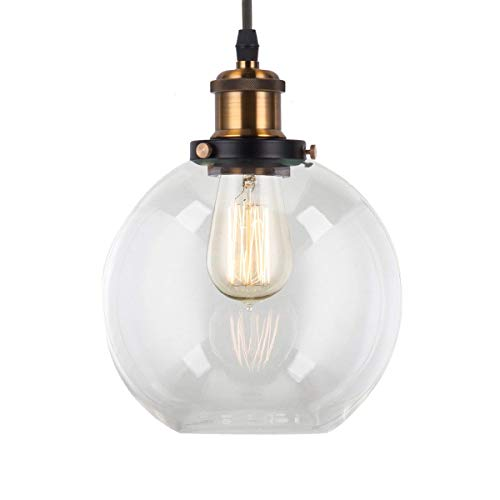 "LightingPro Industrial Globe Pendant Lighting with 8"" Hand Blown Clear Glass Shape, Modern Mini Glass Pendant Light Fixture for Kitchen Island Loft Farmhouse Bar Dining Room Foyer Bedroom"