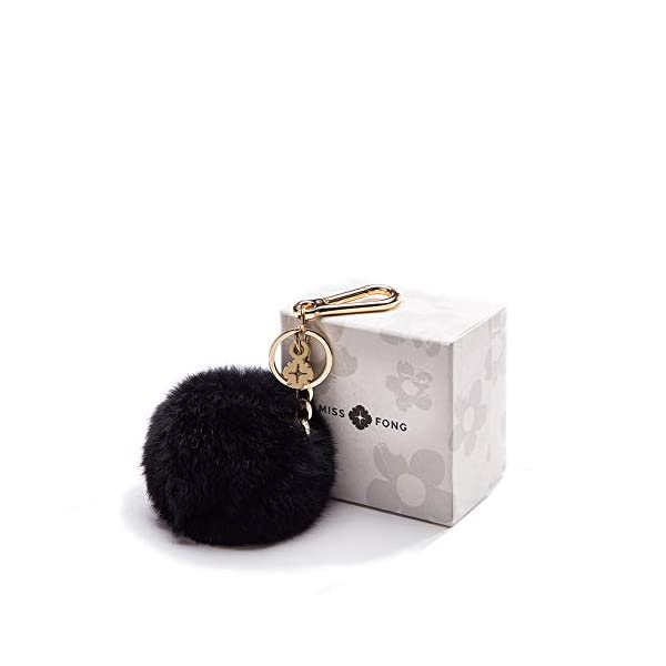 Pom Pom Keychains for Women by Miss Fong,Cute Keychain,Puff Ball Key Chain Women,Bag charms for Handbags Fur Ball in Fox Fur