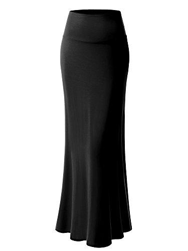MSBASIC Womens Modal Solid Flared Super Soft Fold Over Maxi Skirt