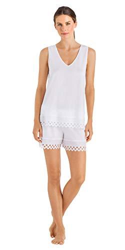 HANRO Women's Bella Short Pajama Set, White, X-Large