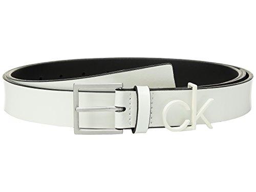Calvin Klein Women's 1.1'' Inch Belt with CK Logo Loop, Coated White, M by Calvin Klein