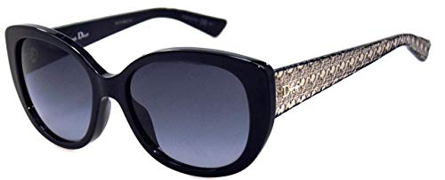 CHRISTIAN DIOR LADY1A Black Gold Signature Metallic OPTYL Cat Eye Sunglasses LADY ()