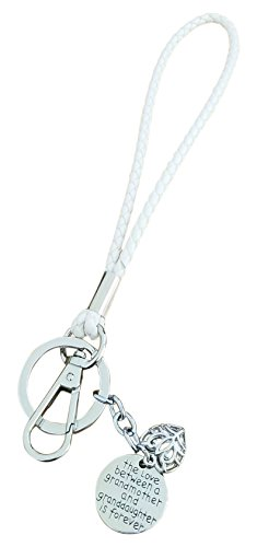 (AM Landen Especially For Love to Grandmother 6 inches White Wristlet Key chain Best Women's Keychain)