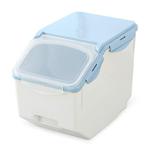 Kitchen Grain Rice Flour Storage Box Dog Food Storage Container Insect Proof Seal Moisture-proof 10kg (Color : Blue)