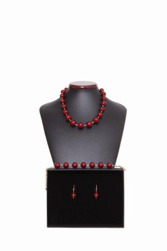 Parure Ball rouge et or Véritable bijoux de Murano de Venise