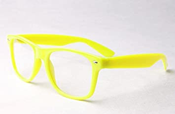 0afb389d6b7 Image Unavailable. Image not available for. Colour  Yellow Clear Lens  Wayfarer Style Nerd Geek Retro Hipster Glasses Fancy Dress Rave Party